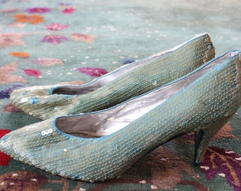 Aqua Sequined Pumps