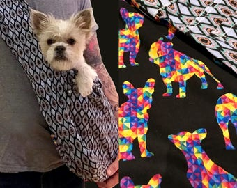 Bullshitz Doggie Bagz: Geometric Pattern with Frenchie Bulldog Rainbow Color
