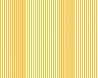 "Yellow and White Stripe Fabric - Riley Blake Designs 1/8"" Stripe -  Mustard and White Stripe - Narrow Stripe Fabric"