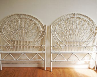 Pair of vintage peacock rattan headboards