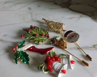 Vintage Collection of Christmas Pins
