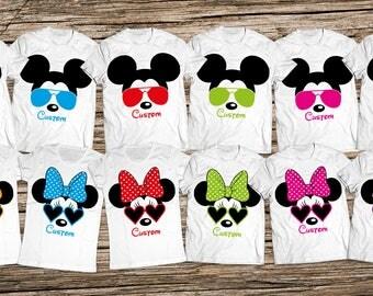 Disney sunglasses family shirts, Mickey and Minnie sunglasses Disney shirts, Personalized Disney Group Shirts, Matching Group Disney Shirts