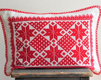 vintage red and white embroidered pillow, folk art pillow, embroidery pillow, red and white embroidery pillow, embroidered pillow case