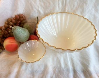 Vintage Milk Glass chip and dip bowl set