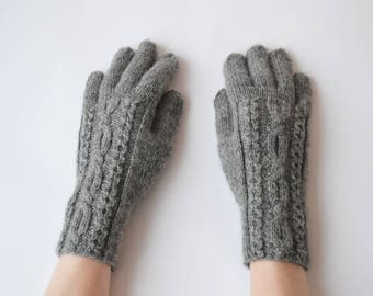 Grey wool alpaca gloves Hand knit cables gloves Full finger women gloves Finger wool alpaca gloves Knit fingered gloves