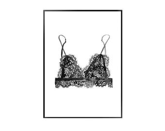 Bralet black and white print