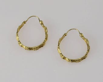 14k Yellow Gold Bamboo Hoop Earrings 6.8 Grams!(01227)