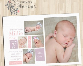 Photo Birth Announcement | Baby Birth Announcement | Baby Thank you Card | Girl Birth Announcement | Customised for you to print | Pink