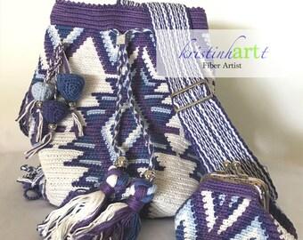 Purple and White Backpack (mochila) Convertible bag / Handmade Crochet / Shoulder / Crossbody / Blue / Purple / White  / Lined / Gift Idea