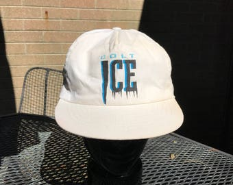 Vintage Colt Ice Beer Snapback Trucker Hat One Size White Blue Classic 90's Streetwear Colt Beer hat