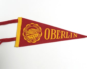 Vintage Oberlin College Mini Pennant Ohio
