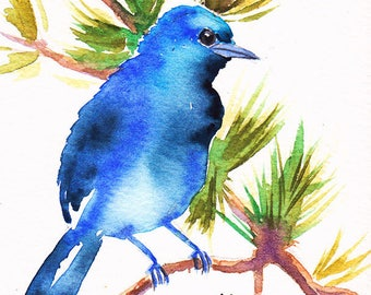 Card, original, miniature, customizable, painted by hand, Bluebird watercolor of spring