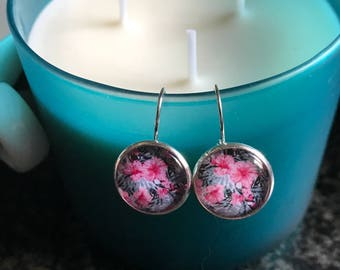 Handmade pink floral hibiscus cabochon earrings- 16mm