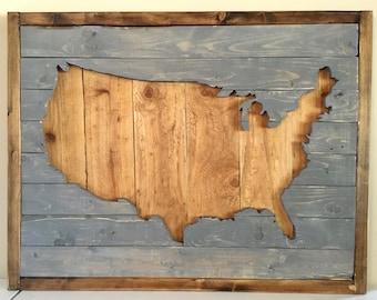USA Wood Wall Art, America Wall Hanging, Rustic Wood Art, United States Outline, Large Wood Art, American Decor, Wood America, Wood USA