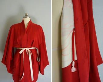 vintage Akaibara haori kimono | vintage red kimono | vintage silk kimono