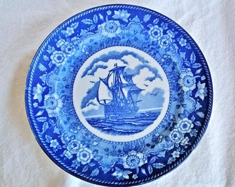 "Vintage Blue Mayflower 9"" DInner Plate  - US Patent Made in Japan"