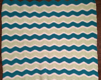 Crochet ripple throw