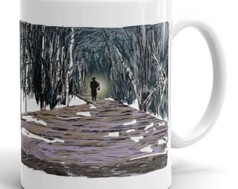 Light Path Mug | Boardwalk Coffee Mug | Walking Coffee Mug | Light | Lantern | Path | Direction | Forest | Woods | Trees | Winter | Cold