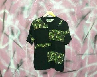 50% SALE Reconstruct japan streetwear shirt patchwork camouflage Medium