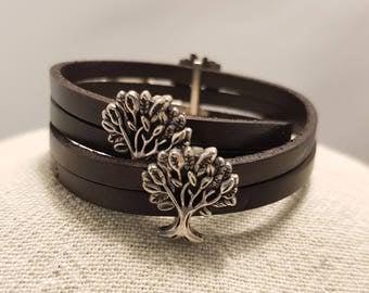 Leather bracelet; Brown leather bracelet; Leather choker;  Flat leather bracelet; Wrap leather bracelet;  Tree of life bracelet;