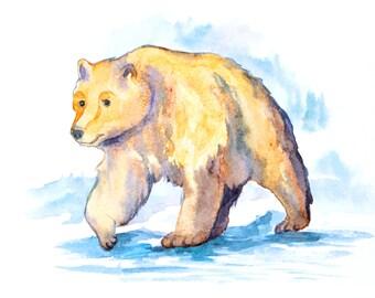 1+1=3! Digital Print, Instant Download Printable Art, watercolor bear painting, bear, bear painting, animal watercolor, animals paintings
