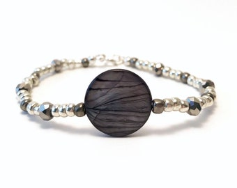 Silver Moonlight~ Handmade Beaded Bracelet~ Mother of Pearl Shell Disc Connector~ Silver Seed Beads & Czech Glass Faceted Crystals