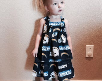 San Diego Chargers dress, Chargers dress, Toddler dress, baby dress, football dress, football outfit, black dress, party dress, girl