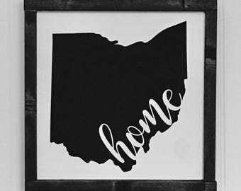 ohio home sign  / home sign / framed ohio home sign / framed wooden sign / home decor