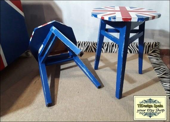 Union Jack furniture, 2 Union Jack chairs, British flag furniture, British flag chairs, Union Jack stools, Union Jack vintage furniture sale