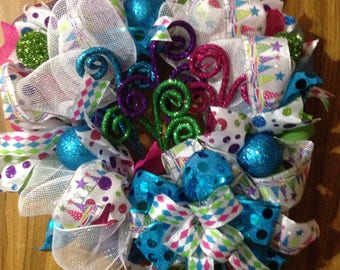 Whimsical Christmas wreath in Teal, Pink, Purple and Lime Green