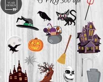 15 Cartoon Halloween elements Halloween Clipart Digital Halloween elements Horror graphics Cartoon clipart Hand drawn clipart