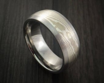 Titanium, palladium and mokume ring custom made to any size 3 to 22