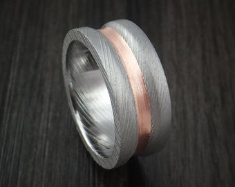 Damascus steel and copper concave ring custom made