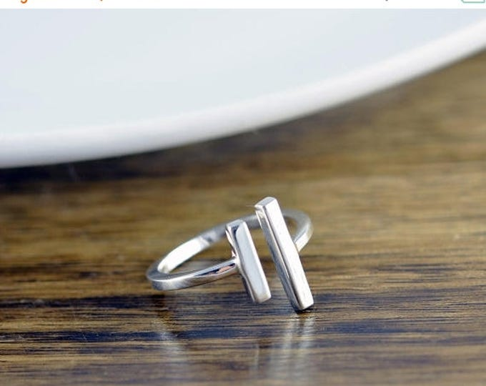 10% off SALE parallel bar ring, sterling silver ring, parallel ring, long silver bar ring, open ring, geometric ring, modern minimalist ring