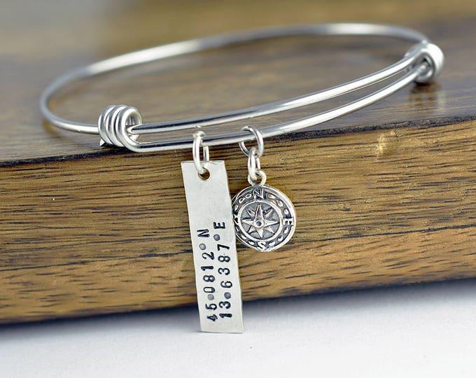 Coordinate Bracelet, Latitude Longitude Bracelet, Custom Coordinates, Coordinate Jewelry, Hand Stamped Bracelet, Coordinates Gift