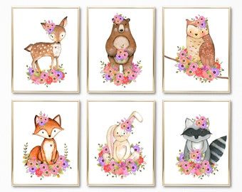 Woodland Nursery Girl Art, Woodland Floral Art, Woodland Girl Bedroom Art, Woodland Girl Prints, Floral Woodland Print Set, Forest Animals