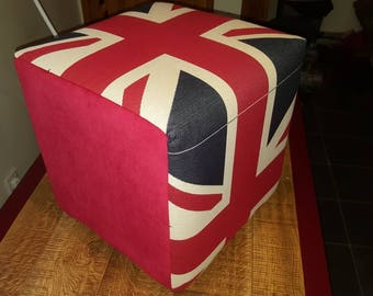 Beautifully reupholstered foot stool union Jack