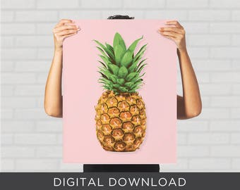 Digital Download Print - Pineapple Pink Tropical Minimal Pop Art Modern - Wall Art, Poster
