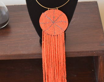 African Maasai Beaded Necklace | African Bead Necklace | Orange Necklace | Multistrands Necklace | Gift For Her