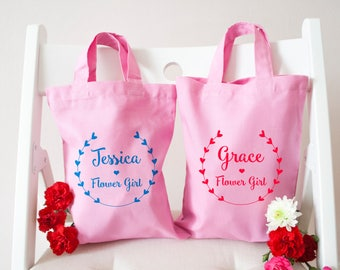 Personalised Pretty Floral Wreath Flower Girl Bag - Wedding Gifts - Party & Favour Bags - Tote Bags - Kids and Baby Gifts - Customisable