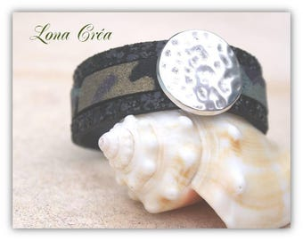 Black leather Cuff Bracelet and Camouflage, hammered round loop and Zamak silver clasp