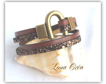 Bracelet brown leather and bronze glitter - clasp Bronze iron Horseshoe - leather bracelet - gift idea