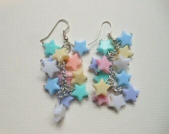 Pastel Shooting Stars Earrings. Kawaii, Fairy Kei, Pastel Goth, Harajuku
