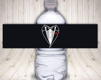 Water Bottle Label, Wedding Tuxedo Water Bottle Label, Men's Wedding Tuxedo, Wedding Water Label, Wedding Labels, Bachelor Party