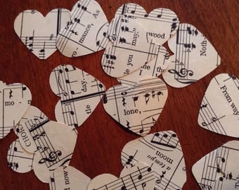 Beautiful Sheet Music Confetti Hearts