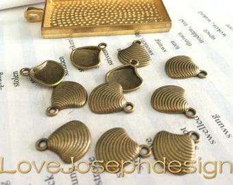 wholesale 50 Pieces /Lot Antique Bronze Plated 15mmx13mm Shell charms
