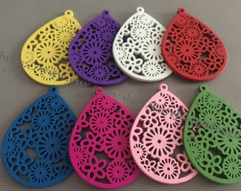 10pieces Colorfull hollow wood different colors 51x39mm Teardrop Earring Pendant Filigree Flower Wooden Charms (#0325)