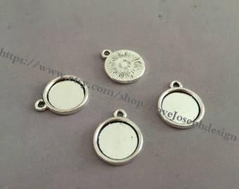 Wholesale 100 Pieces /Lot Antique Silver Plated 12mm(one side) cabochon trays charms(#0395)