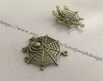 wholesale 10 Pieces /Lot Antique Bronze Plated 38.5mmx33mm spider's web connector(#0477)