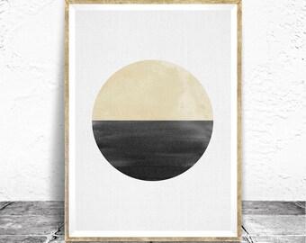 Geometric Print - Baydreem. Abstract Wall Art Geometric Minimalist Wall Art Yellow Black Circle Scandinavian Wall Art Minimal Art Printable